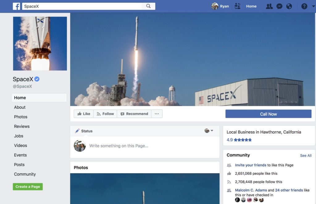 SpaceX Facebook Page Tesla Musk