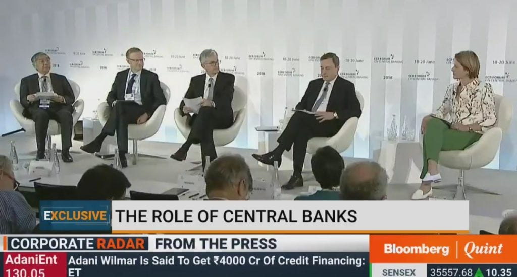 Central Bankers Panel, Jerome Powell, Mario Draghi, Haruhiko Kuroda, Philip Lowe