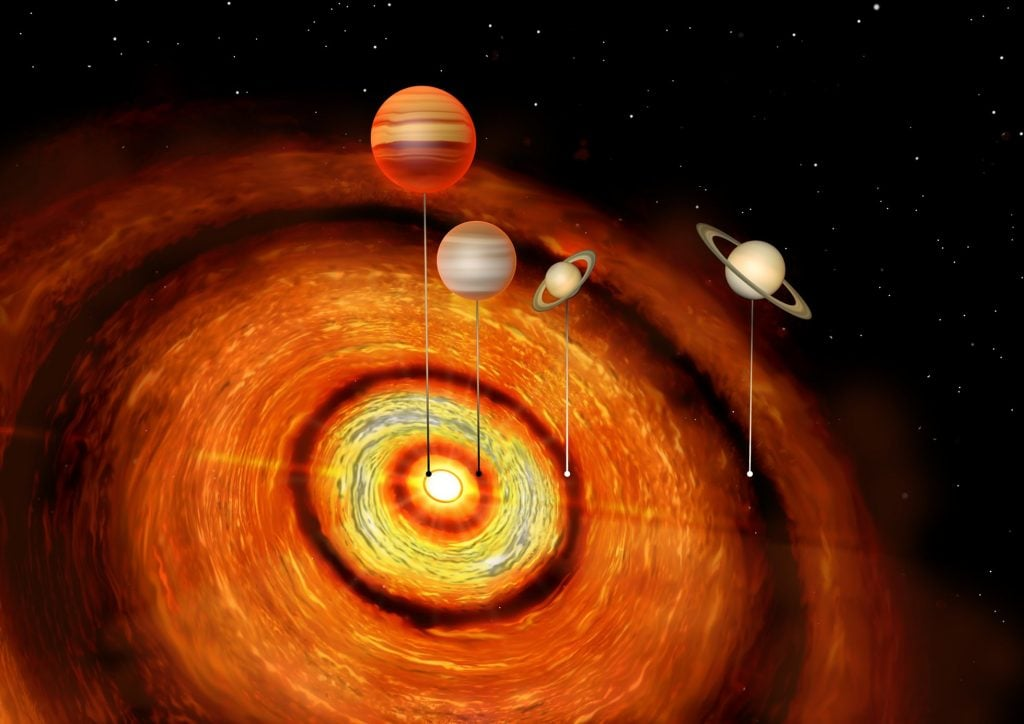 Three Huge Gas Planets Orbiting Young Star
