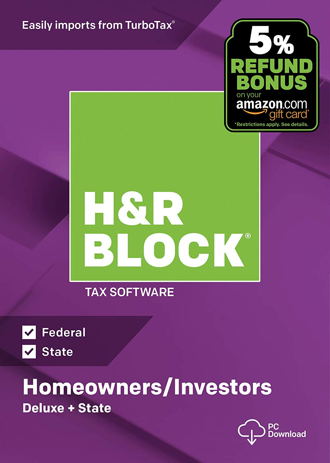 HR Block Tax Software Deluxe & State 2018 For $18!
