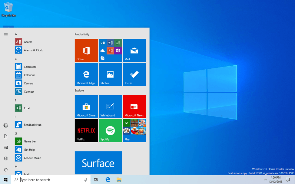 New Windows 10 Preview