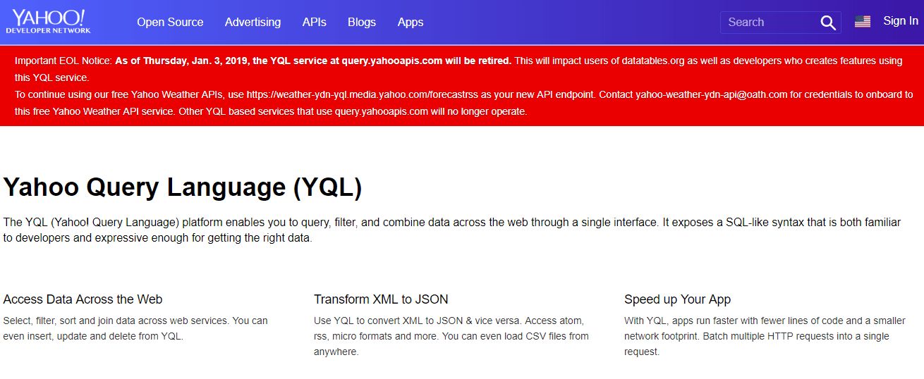 Yahoo Retires YQL Services For query yahooapis com