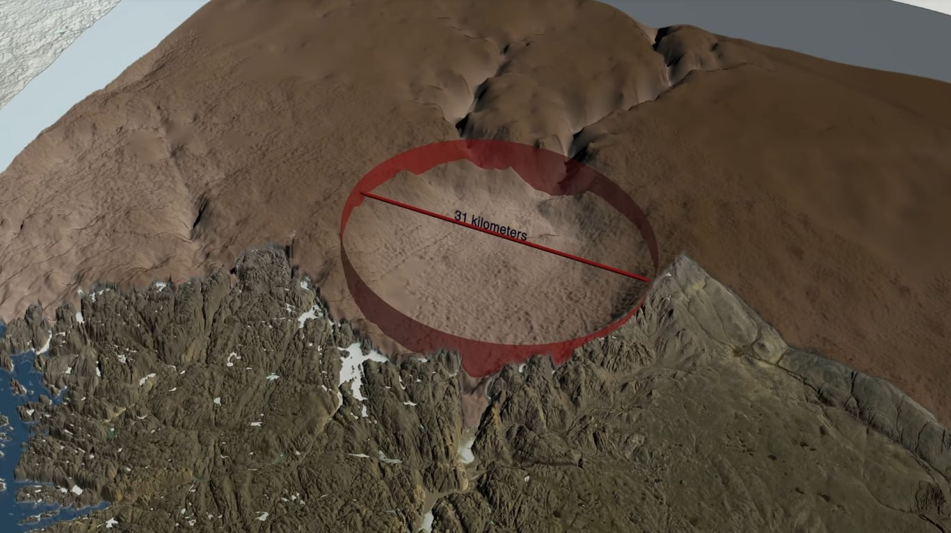 Huge Crater Beneath Greenland's ice