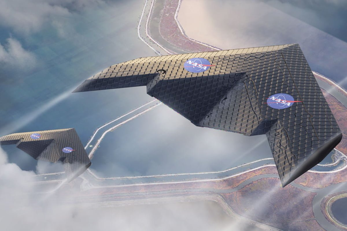 futuristic airplane wing