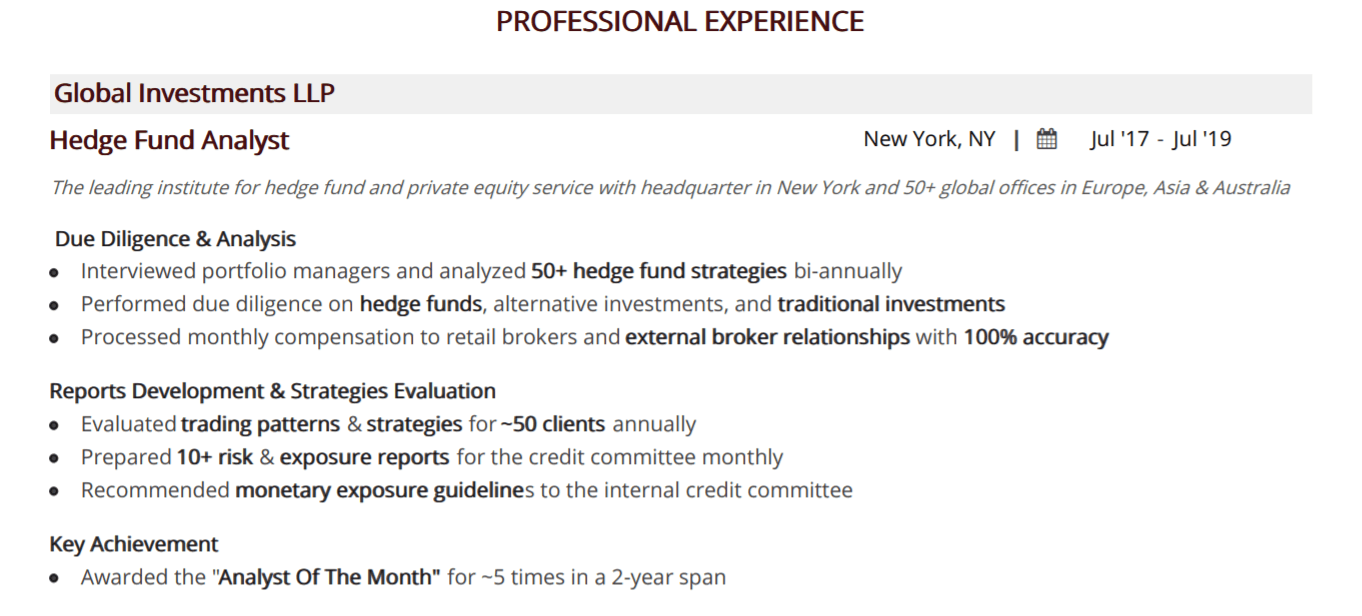Hedge Fund Resume