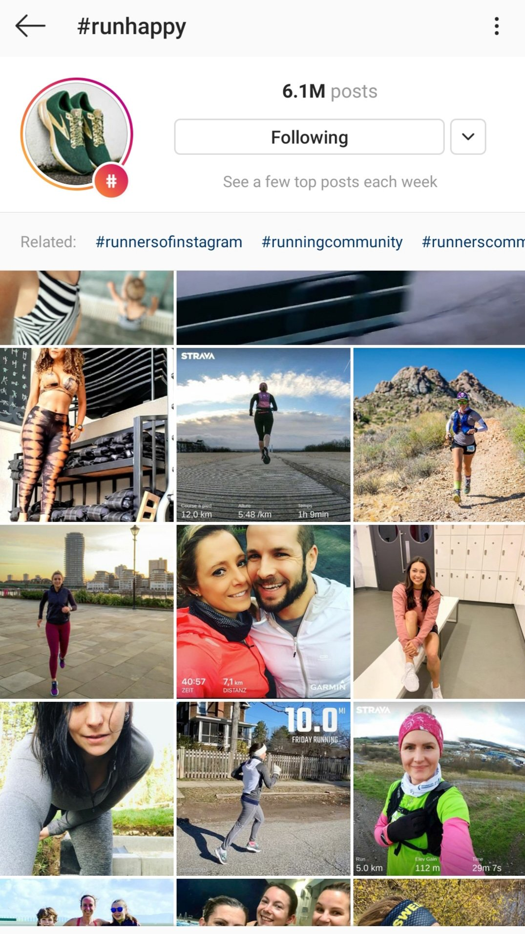 Evergreen hashtags - RunHappy - Instagram